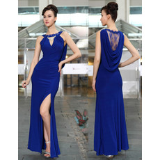 Cheap Classy Sexy Sheath/ Column Chiffon Split Blue Long Formal Evening Wear Dress