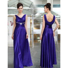 Cheap Classy Elegant A-Line Long Satin Formal Evening Prom Dress