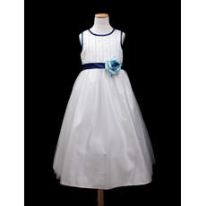 Custom A-Line Round Tea Length Satin Little Girls Party Dress