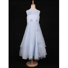 A-Line Spaghetti Straps Tea Length Organza Little Girls Party Dress
