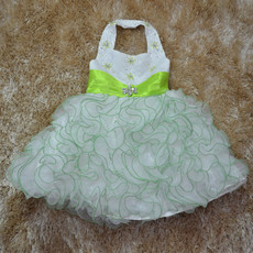 Ball Gown Halter Tea Length Ruffle Flower Girl Dress