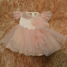 Custom Ball Gown Knee Length Organza Little Girls Party Dress