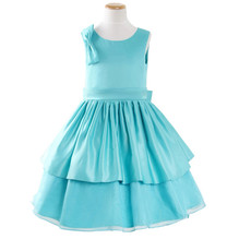 A-Line Round Tea Length Satin Easter Dress/ Little Girls Party Dress