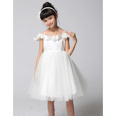 Princess A-Line Spaghetti Straps Knee Length Flower Girls Dress for Wedding