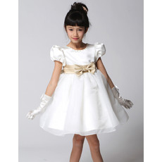 Adorable Princess Ball Gown Short Satin Little Girls Party Dress