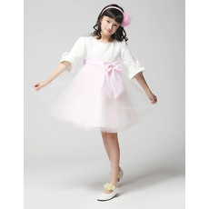 Kids Princess Half Sleeves Knee Length Little Girls Party Dress