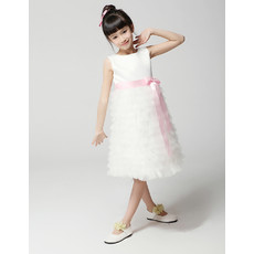 Kids Princess A-Line Knee Length Ruffle Little Girls Party Dress