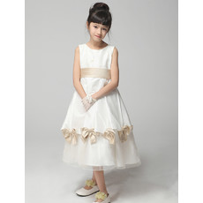 Pretty A-Line Tea Length Satin Little Girls Pageant Party Dress