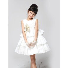 A-Line Short Taffeta Tiered First Communion/ Flower Girl Dress