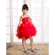 Pretty Ball Gown Spaghetti Straps Short Little Girls Pageant Party Dress