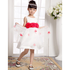 Beautiful A-Line Short Satin Little Girls Pageant Party Dress
