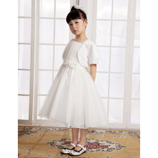 Little Girls Lovely A-Line Knee Length Satin First Communion/ Flower Girl Dress