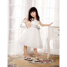 Little Girls Pretty A-Line Knee Length Flower Girl/ First Communion Dress
