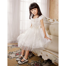 Knee Length Organza First Communion/ Flower Girl Dress for Weding