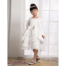 Knee Length Long Sleeves First Communion/ Flower Girl Dress for Weding