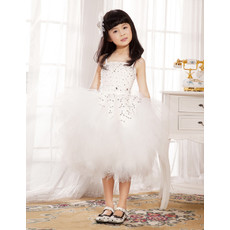 Little Girls Ball Gown Knee Length Tulle Flower Girl Dress for Wedding