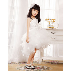Ball Gown Spaghetti Straps Short Tulle Little Girls Wedding Party Dress