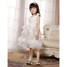 A-Line Round Knee Length Organza Flower Girl Party Dress for Wedding