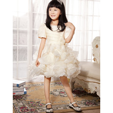 Cute Short Sleeves Knee Length Ruffle Flower Girl Party Dress for Wedding