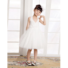 A-Line Halter Knee Length Satin Flower Girl Dress