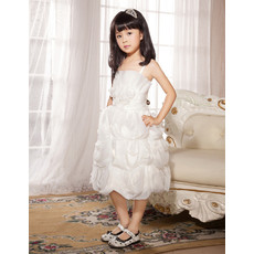 Spaghetti Straps Knee Length Organza Flower Girl Party Dress for Wedding