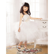 Ball Gown Knee Length Tulle Flower Girl Party Dress for Wedding