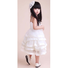 A-Line Knee Length Satin Tiered Flower Girl Party Dress for Wedding
