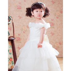 Adorable Ball Gown Tea Length Satin Flower Girl Party Dress for Wedding