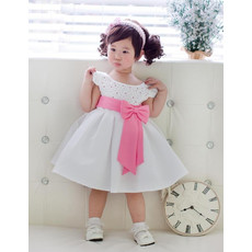 A-Line Cap Sleeves Knee Length Flower Girl Party Dress for Wedding