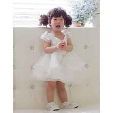 Ball Gown Cap Sleeves Short Organza Flower Girl Party Dress for Wedding