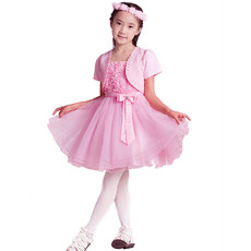 A-Line Spaghetti Straps Short Floral Flower Girl Party Dress for Wedding