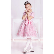 Princess Lovely Lace Short Sleeves Knee Length Little Girls Party/ Pageant Dress