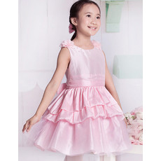 Pretty A-Line Round/ Scoop Short Satin Little Girls Party/ Pageant Dress