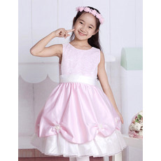 Cute A-Line Round Knee Length Satin Little Girls Party/ Pageant Dress