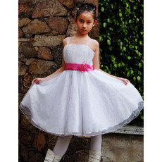 Pretty A-Line Straps Knee Length Satin Organza Flower Girl Dress for Wedding