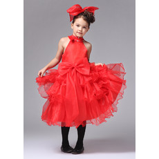 A-Line High-Neck Knee Length Satin Organza Flower Girl Dress