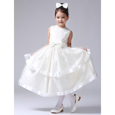 Little Girls Pretty Tea Length Satin First Communion/ Flower Girl Dress