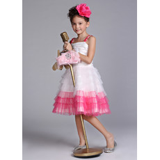 Pretty Knee Length Tiered ittle Girls Party/ Pageant Dress