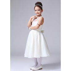 Cute A-Line Tea Length Satin First Communion/ Flower Girl Dress