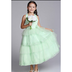 Halter Tea Length Satin Easter Dress/ Flower Girl Dress