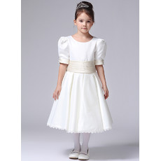Little Girls Tea Length Satin First Communion/ Flower Girl Dress with Short Sleeves
