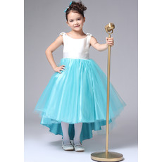 Little Girls Kids Pretty A-Line Round/ Scoop High-Low Satin Flower Girl Dress