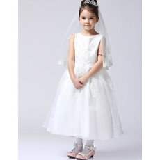 Lovely Ball Gown Tea Length First Communion/ Flower Girl Dress