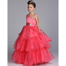 Ball Gown Asymmetric Floor Length Satin Flower Girl Dress