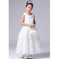 Little Girls Pretty Ankle Length Floral First Communion/ Flower Girl Dress