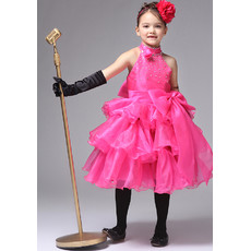 Kids Princess A-Line High-Neck Knee Length Satin Girl Pageant Party Dress