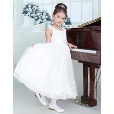 Little Girls Lovely Tea Length Organza First Communion/ Flower Girl Dress