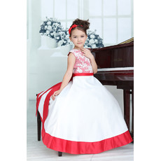 Little Girls Affordable A-Line Floor Length Satin Flower Girl Dress