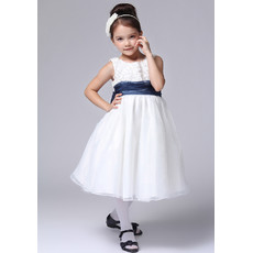 Little Girls Cute A-Line Round Knee Length Satin Flower Girl Dress