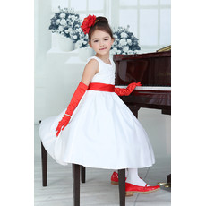 Lovley Little Girls A-Line Round Tea Length Satin Flower Girl Dress